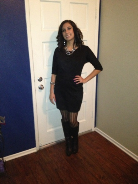 My NYE outfit, all black everything. Dress and tights Avon, boots Shoedazzle, necklace Lia Sophia.