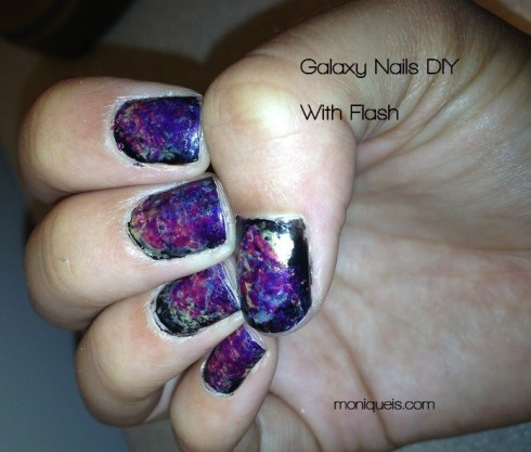 galaxy nails diy with flash