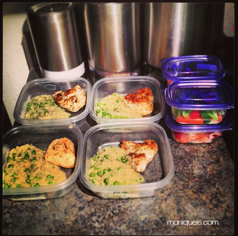 This is what meal prep looks like. Cooked some chicken and quinoa with peas. Put some veggies and fruits on snack sized containers. Stuck it all in the fridge to easily grab and go each day!