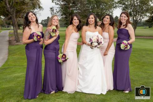 I love this candid photo of us all just laughing and giving genuine smiles. I also love the bridesmaid dresses. They are so sleek and elegant looking. The dresses are from the David's Bridal Vera Wang Spring 2013 collection.