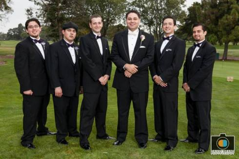 My brothers are on the left, they walked me down the aisle. The groomsmen got their tuxes from Men's Wearhouse.