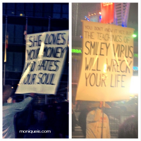 A protestor at the Staples Center before the Miley Cyrus show.