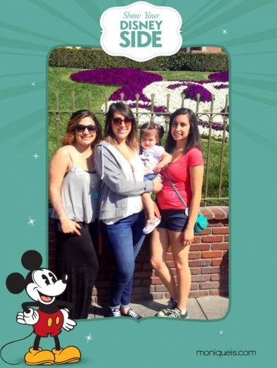My sisters Jessica, Marina, my niece Sophia and me posing by the famous Mickey Mouse flowers.